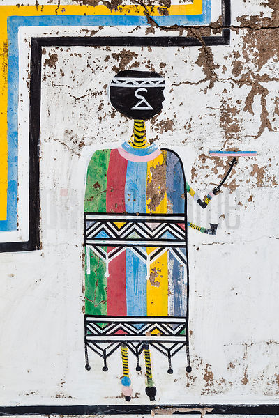 Painting of an Ndebele Woman in Traditional Dress