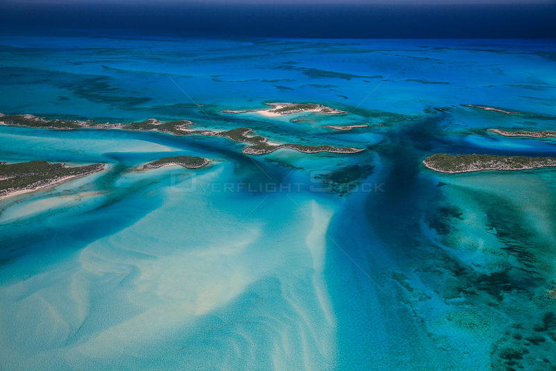 Aerial view of eastern Bahamas Reefs, Atlantic Ocean