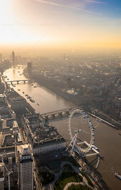 London Eye and Bridges and River Thames at Sunset London England