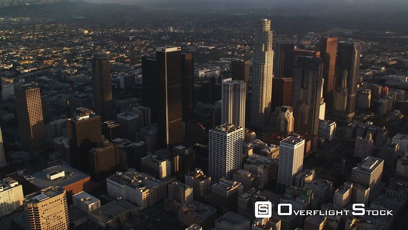 Aerial view of Los Angeles downtown skyscrapers. Shot in October