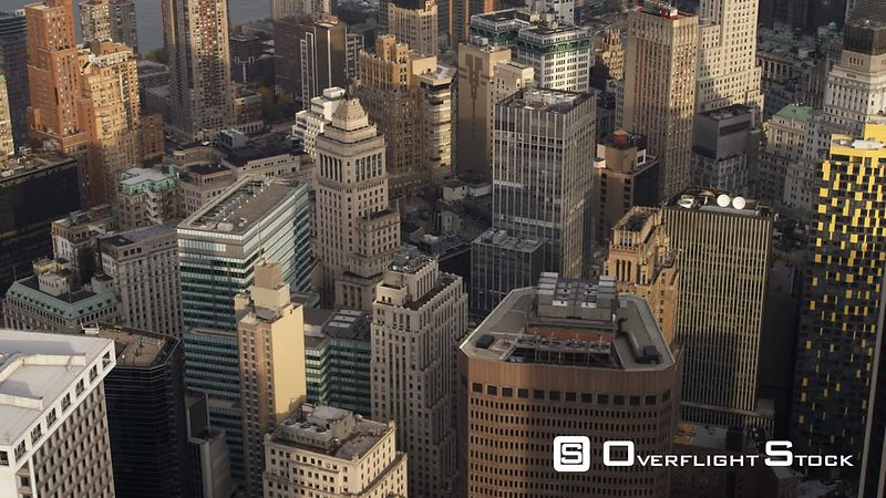Close flight over the New York Financial District in Lower Manhattan.