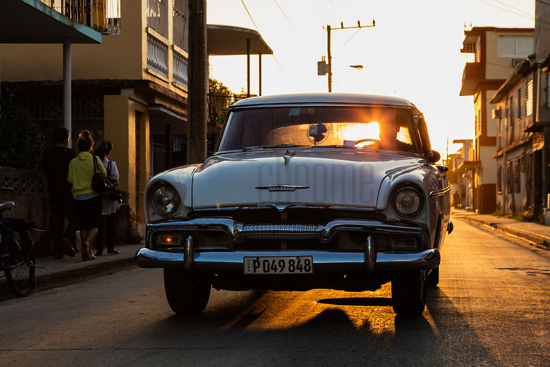Vintage American Car in the Streets at Sunset