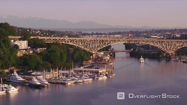 Seattle, Washington Aerial view of George Washington Memorial Bridge and Lake Union.  Shot with Cineflex and RED EpicW Helium.