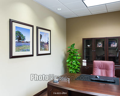 Framed art photography in bank office