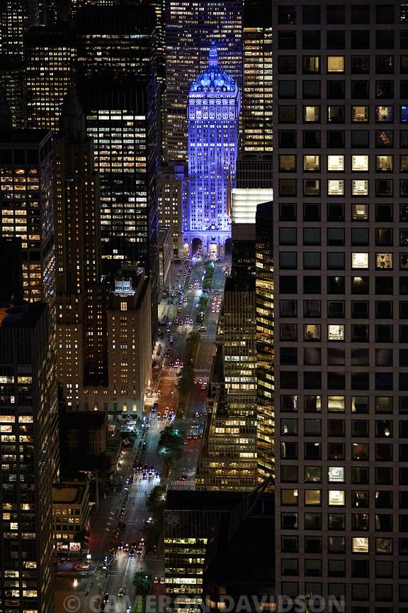 Aerial photograph of Park Avenue and the Helmsley Building at night.