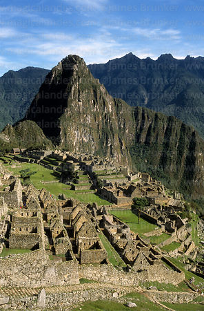 View of Inca city of Machu Picchu and Huayna Picchu peak, Peru