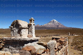 Stone shrine in shape of church at Cotasaya and Sajama volcano, Sajama National Park, Bolivia