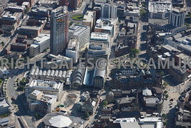 Sheffield aerial photograph looking across Tudor Square and the Winter Gardens and the Town Hall towards St Pauls Place