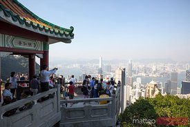 Lookout full of tourists, Victoria peak, Hong Kong