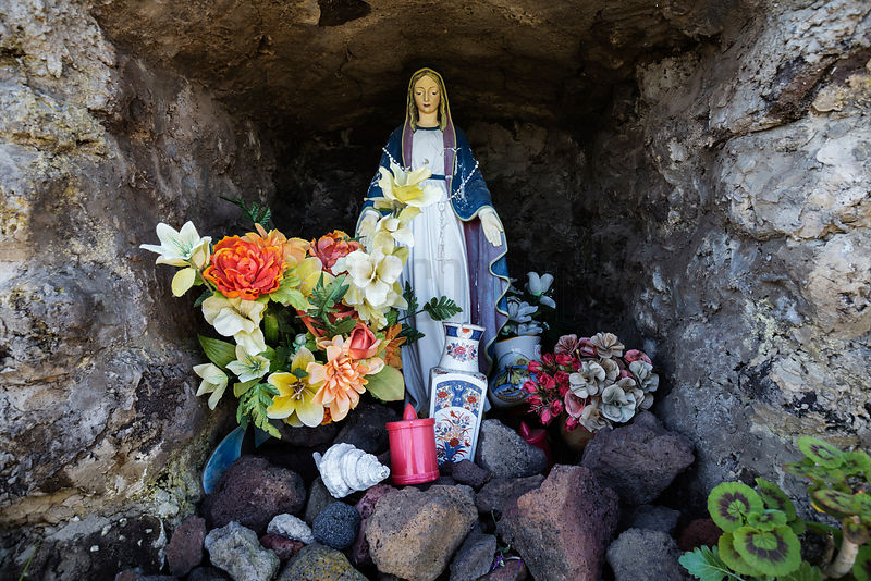 Statue of the Madonna in Niche on Stromboli Trail