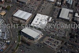 Bury aerial photograph of Anglouleme retail park TK-Max and DW Fitness and Asda Supermarket  George Street and Spring Street