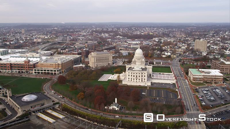 Orbiting Rhode Island State House, Providence, Wide View. Shot in November