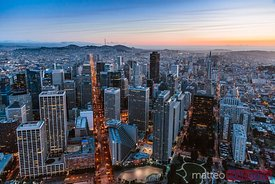 Aerial of  financial district at dusk, San Francisco, USA
