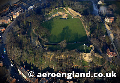 aerial photograph of  Pontefract Castle in Wakefield West Yorkshire England UK