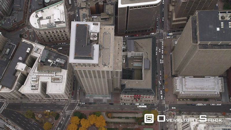 Hovering Over Downtown Boston, Looking Down. Shot in November