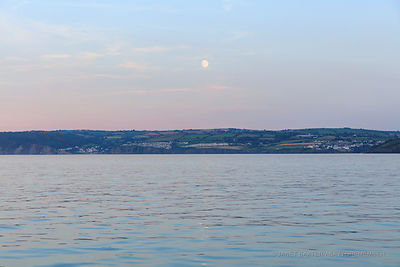 Moon rising over Aberporth
