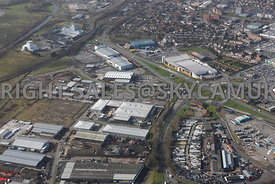 Widnes high level aerial photograph looking across old disused industrial land looking across from Fiddlers Ferry road towards Ashley Way and the Ashley retail park