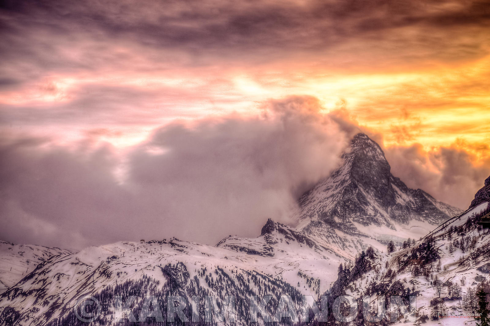 The Matterhorn with a volcano style sunset - Zermatt