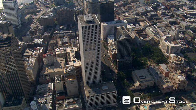 Slow flight over downtown New Orleans buildings.