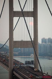 Tsing ma bridge at sunset, Hong Kong