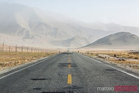 Deserted Karakorum highway in central Asia