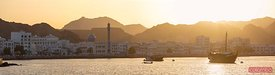 Mutrah harbour and old town at sunset, Muscat, Oman