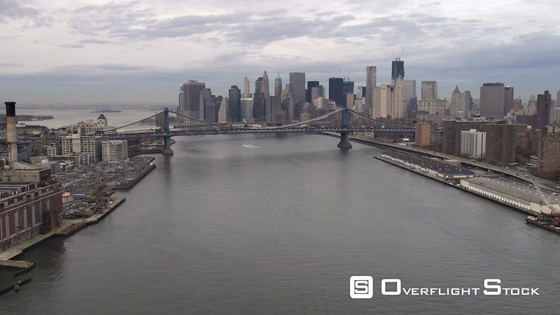 Aerial shot of Manhattan Bridge from the East River looking at lower Manhattan.
