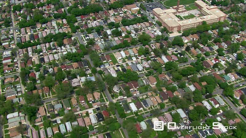 Slow, high flight over Chicago suburban area.