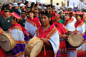 Musicians playing drums during processions for Inti Raymi festival , Cusco , Peru