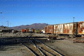 View of part of railway station and goods yard, Uyuni, Bolivia