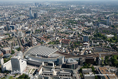 Panoramic aerial photograph of the area around Waterloo Station London England UK showing  Southwark St, London SE1 , Becket House, 1 Lambeth Palace Rd, London SE1 7EU , Lower Marsh London SE1 7NT , Waterloo Rd, London SE1 8UX and Westminster Bridge Rd, London, Waterloo SE1 7RW
