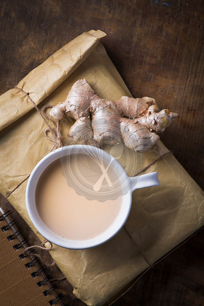 Indian masala tea with ginger, cardamom and cinamon