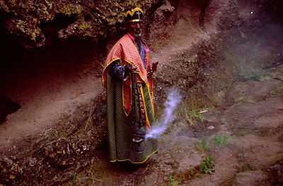 Ethiopia - Lalibela - An Ethiopian priest with an incense burner