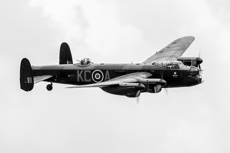BBMF Lancaster PA474 black and white version