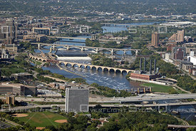 The Bridges Over the Misssissippi River Downtown Minneapolis Minnesota