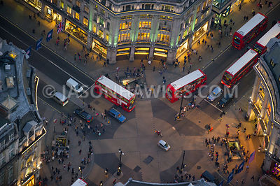 Aerial view of Oxford Circus at dusk, London