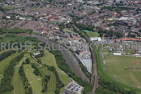 Chester high level aerial view looking from south of the river Dee up the main railway line into the Westgate area of Chester and Tower Garden and Chester Canal