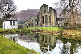 Vale Crucis Abbey and Fish Pond, Llangollen, Denbighshire