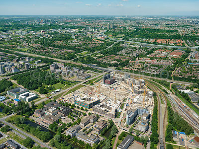 Diemen, Holland Park is a large scale transformation development where the office area Bergwijkpark is being transformed into a residential area. North Holland, Netherlands