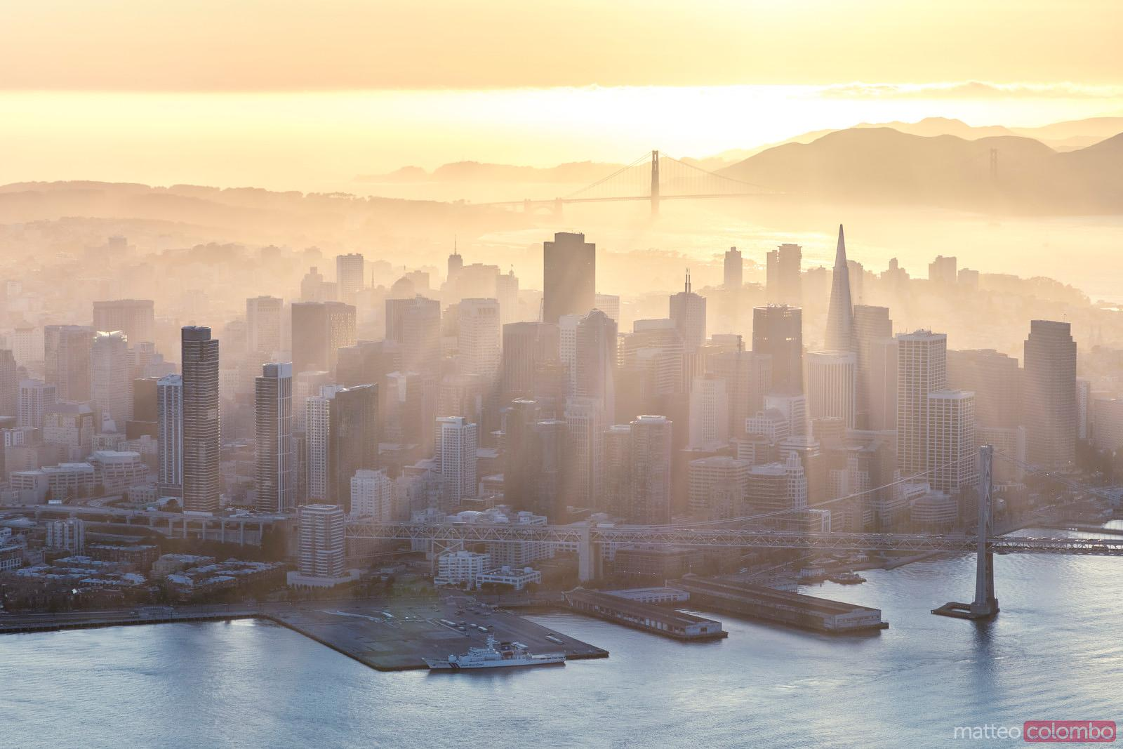 Aerial of downtown district at sunset, San Francisco, USA
