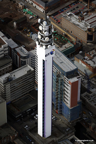 aerial photograph of the BT tower in Birmingham, West Midlands England UK