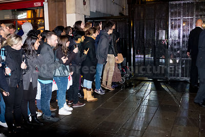 Fans waiting at the Rear Gates for the Odeon Leicester Square