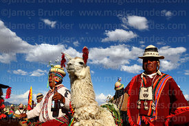 Aymara man with his prize winning llama at rural festival, Orinoca, Bolivia