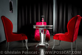 Shooting photo club privé fauteuils rouges