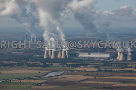 Yorkshire aerial photographs of the Power Stations Drax's and Eggborough and Ferrybridge Stations and Steam plumes rising from their cooling towers