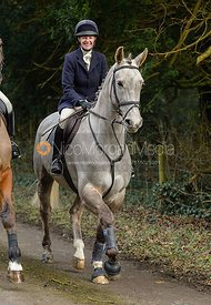 Lizzie Lomas leaving the Cottesmore Hunt meet at Little Dalby Hall