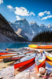 Colorful canoes, Moraine lake, Banff National Park, Canada