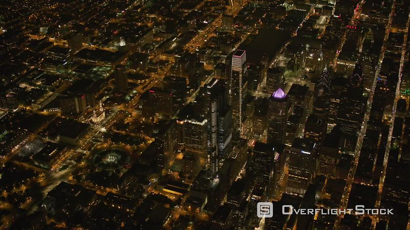 Philadelphia, Pennsylvania High angle aerial view of Philadelphia at night.  Shot with Cineflex and RED EpicW Helium.