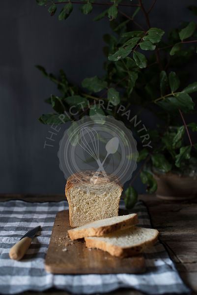 Baked bread in a rustic kitchen