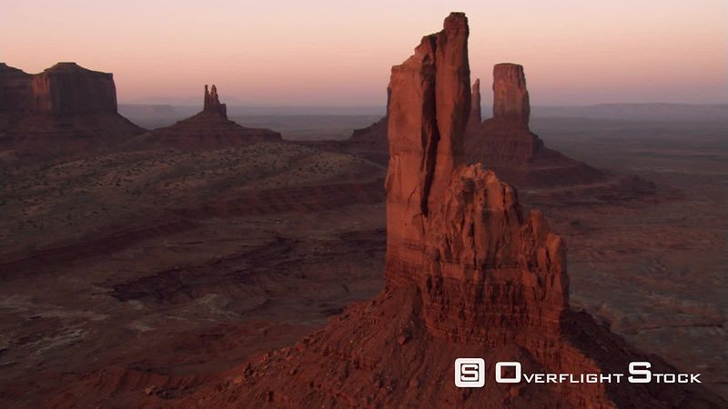 Close flight past Big Chief Butte in Monument Valley